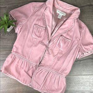 Crushed Velvet Silk Pink Jacket Vintage Style
